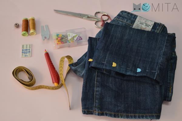 DIY coser ruedo jeans