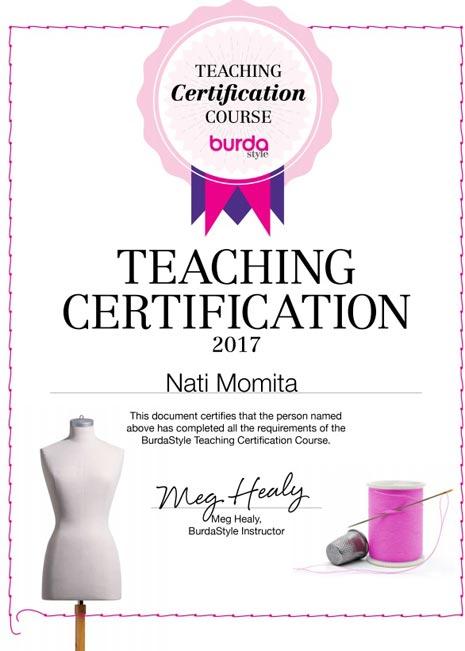 Certificado profesora Burda
