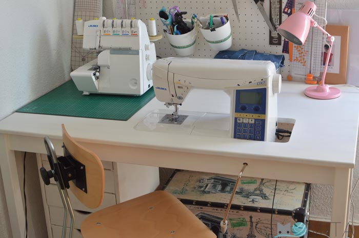 Como encajar en una mesa la maquina de coser